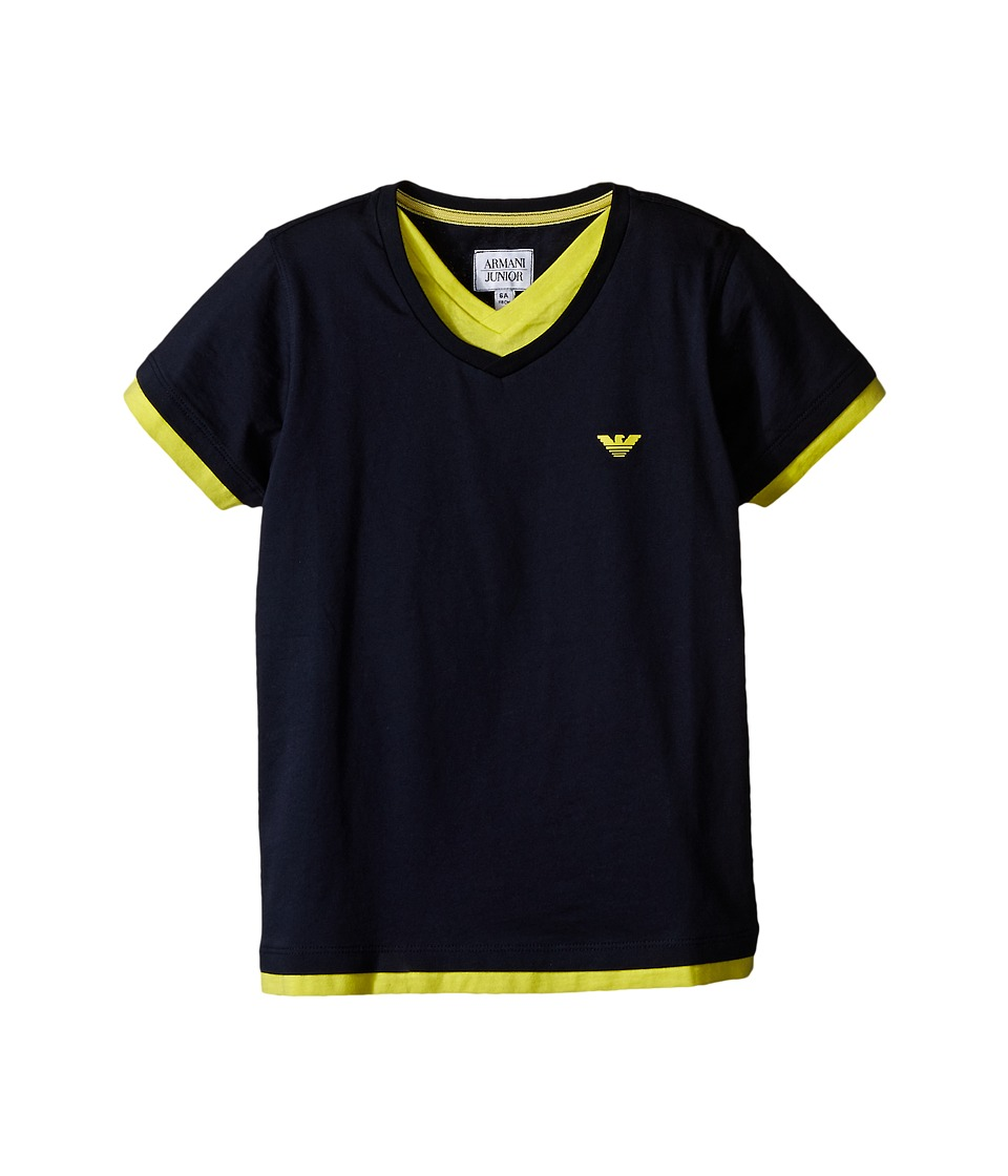 Armani Junior - Navy Tee with Contrast Yellow Trim (Toddler/Little Kids/Big Kids) (Indigo) Boy's Short Sleeve Pullover