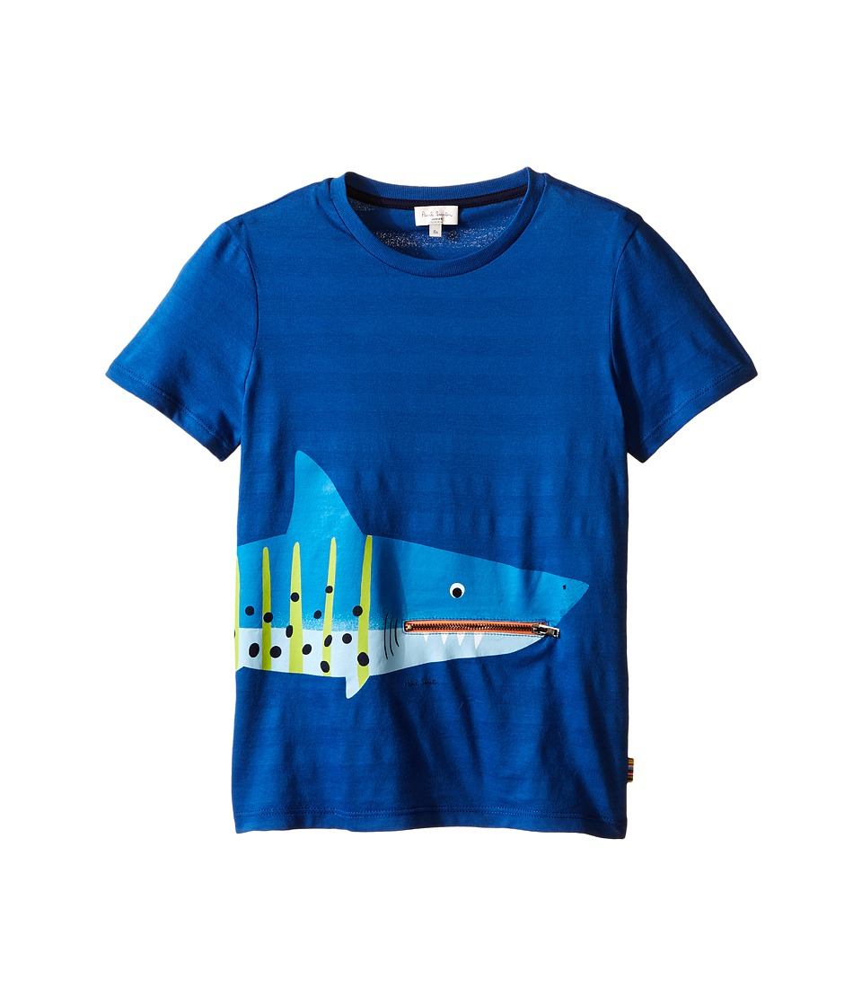 Paul Smith Junior - Shark with Tongue/Pocket Tee Shirt (Big Kids) (Royal Blue) Boy's T Shirt