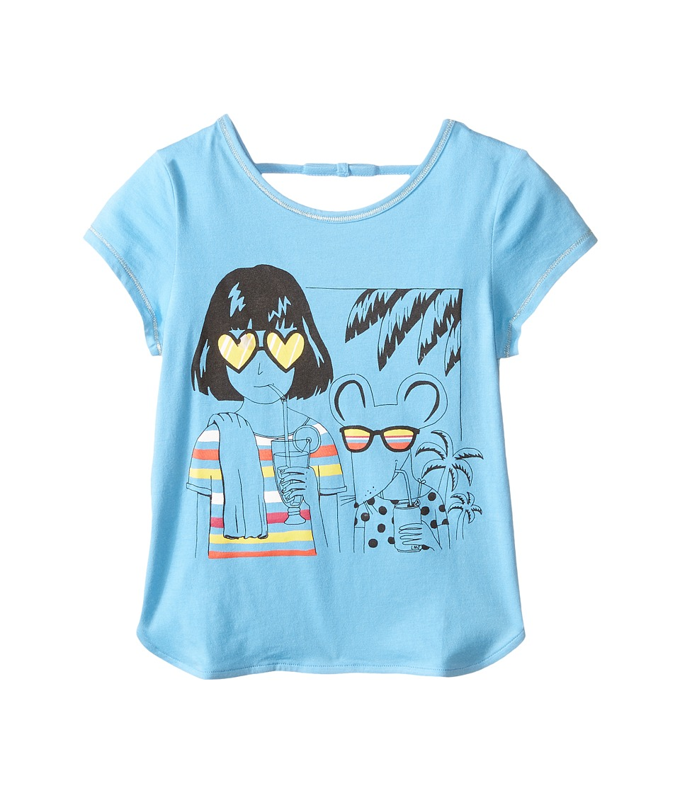 Little Marc Jacobs - Jersey Tee Shirt with Sunglasses Mouse Print (Toddler/Little Kids) (Light Blue) Girl's Short Sleeve Pullover