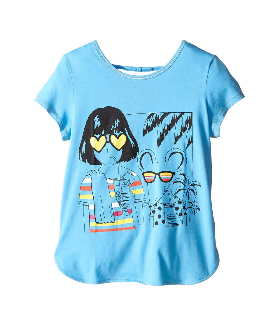 Little Marc Jacobs - Jersey Tee Shirt with Sunglasses Mouse Print (Little Kids/Big Kids) (Light Blue) Girl's Short Sleeve Pullover