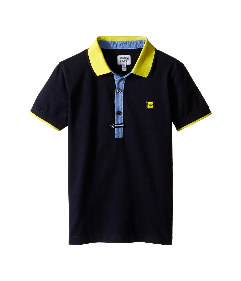 Armani Junior - Navy Polo with Yellow Collar and Button Detail (Toddler/Little Kids/Big Kids) (Indigo) Boy's Short Sleeve Knit