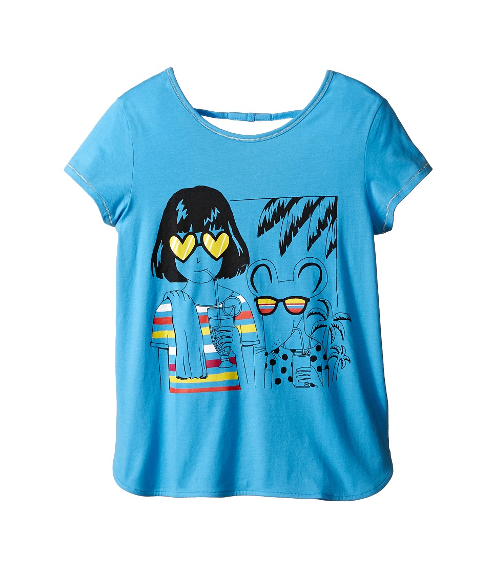 Little Marc Jacobs - Jersey Tee Shirt with Sunglasses Mouse Print (Big Kids) (Light Blue) Girl's Short Sleeve Pullover