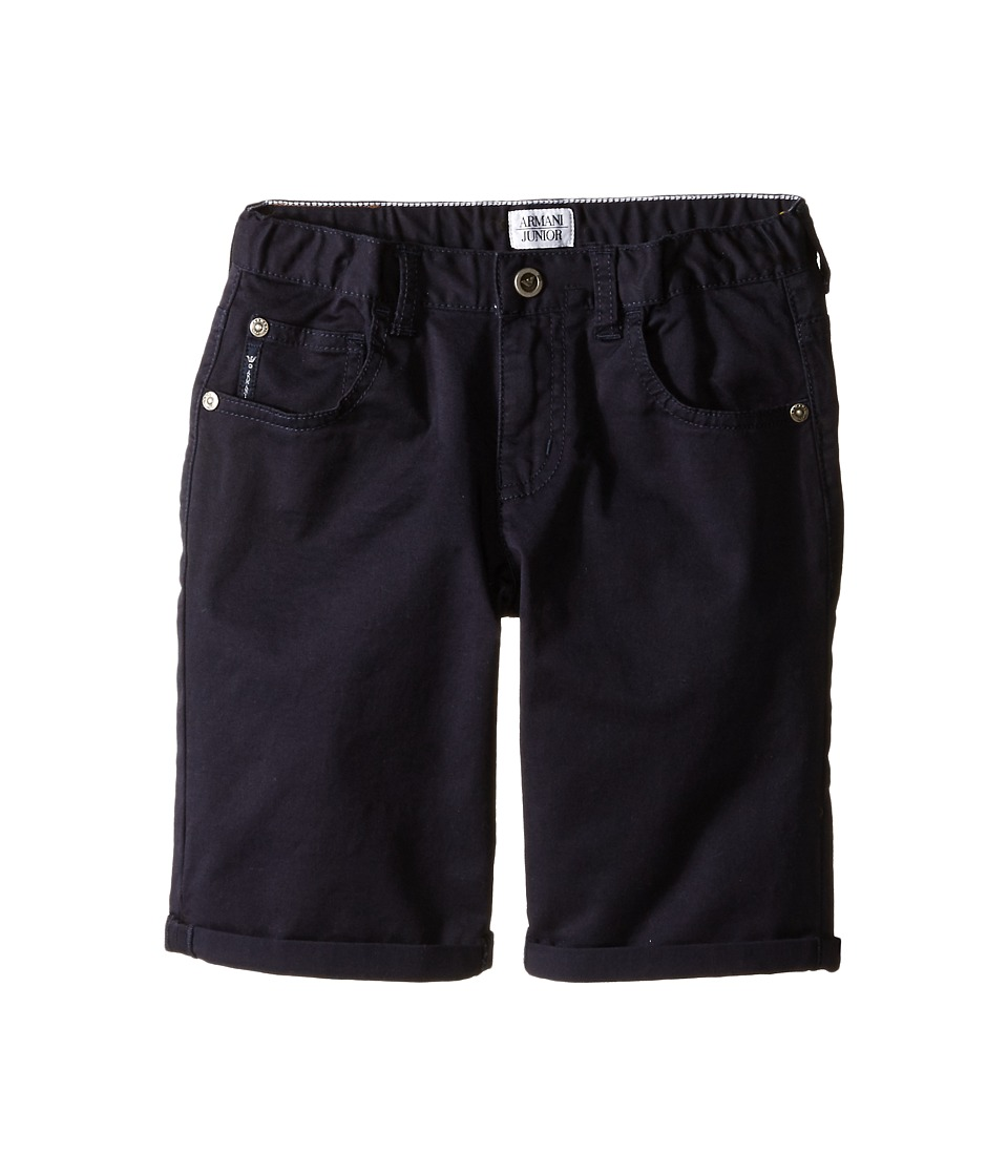 Armani Junior - Navy Stretch Cotton Roll Shorts (Toddler/Little Kids) (Indigo) Boy's Shorts