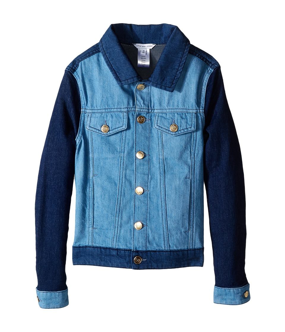 Little Marc Jacobs - Denim Jacket Leather Flag (Little Kids/Big Kids) (Blue Denim) Girl's Coat