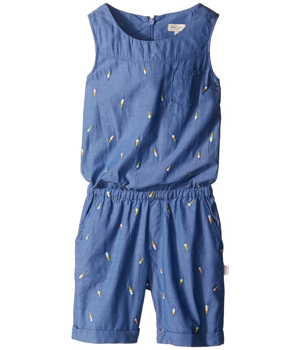 Paul Smith Junior - Denim Romper (Toddler/Little Kids) (Blue) Girl's Jumpsuit & Rompers One Piece