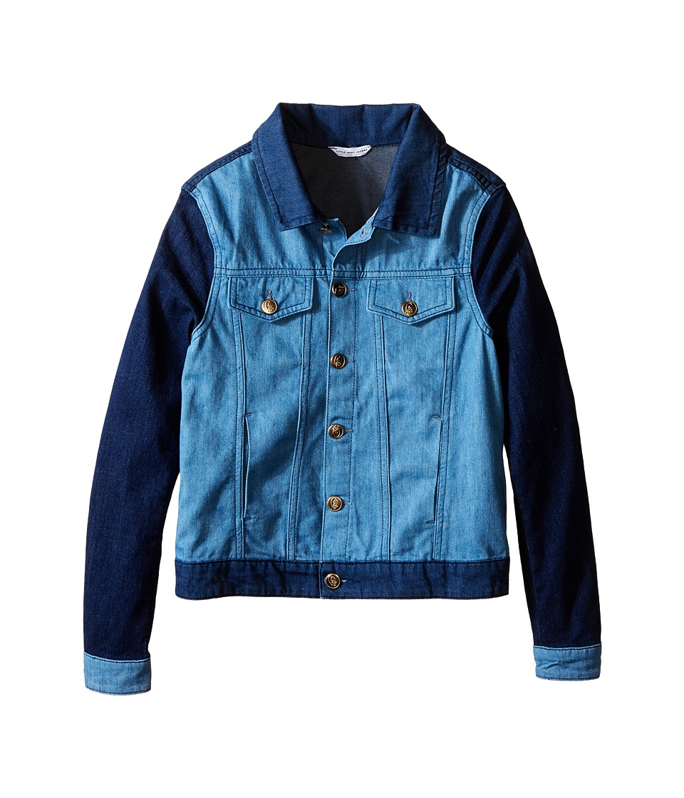 Little Marc Jacobs - Denim Jacket Leather Flag (Big Kids) (Blue Denim) Girl's Coat