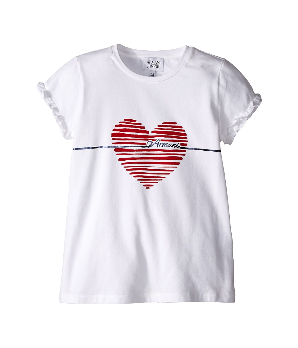 Armani Junior - T-Shirt with Red Heart and Ruffled Sleeves (Toddler/Little Kids/Big Kids) (White Wash) Girl's T Shirt