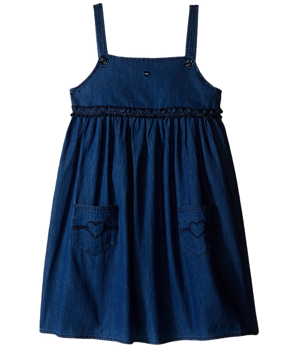 Armani Junior - Two-Pocket Dress with Ruffle Detail (Toddler/Little Kids/Big Kids) (Denim) Girl's Dress