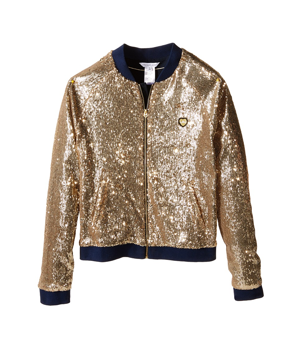 Little Marc Jacobs - Crepe Teddy All Over Sequin (Big Kids) (Gold) Girl's Coat