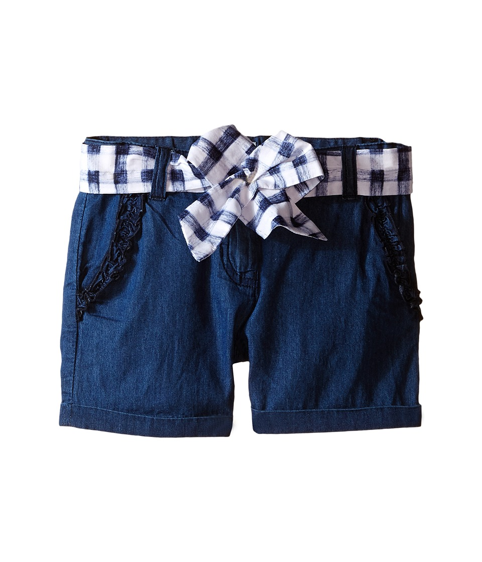 Armani Junior - Shorts with Belted Bow in Denim (Toddler/Little Kids) (Denim) Girl's Shorts