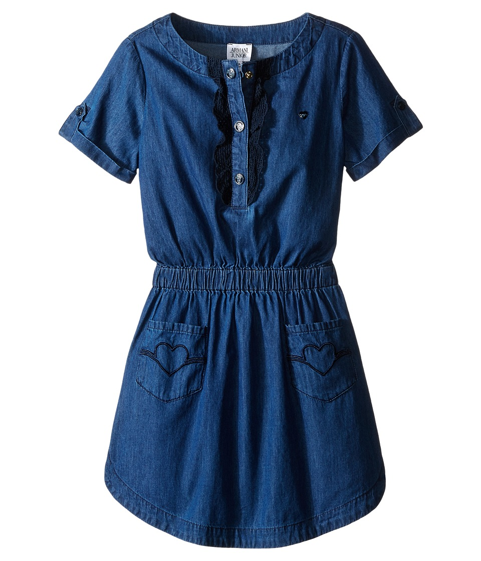 Armani Junior - Two-Pocket Dress with Ruffled Detail (Big Kids) (Denim) Girl's Dress