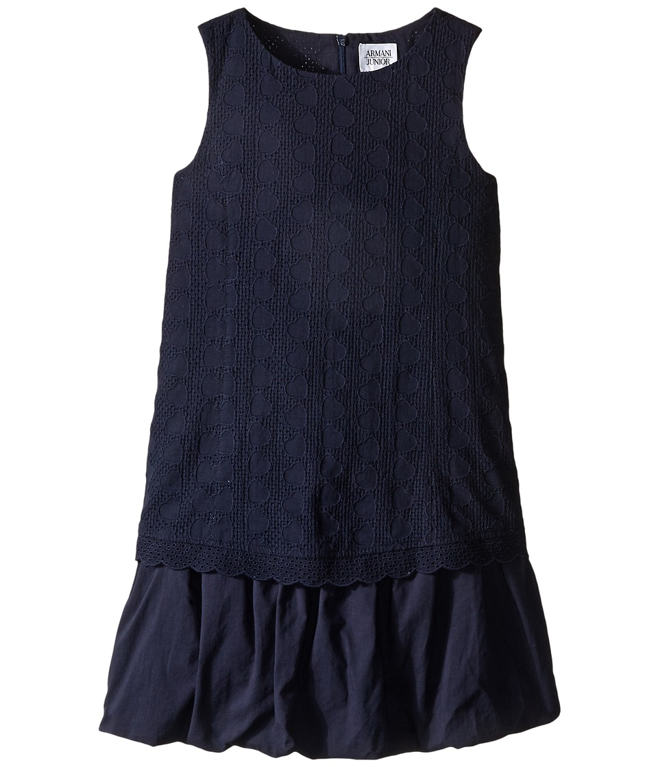 Armani Junior - Navy Sleeveless Dress with Hearts (Big Kids) (Indigo) Girl's Dress