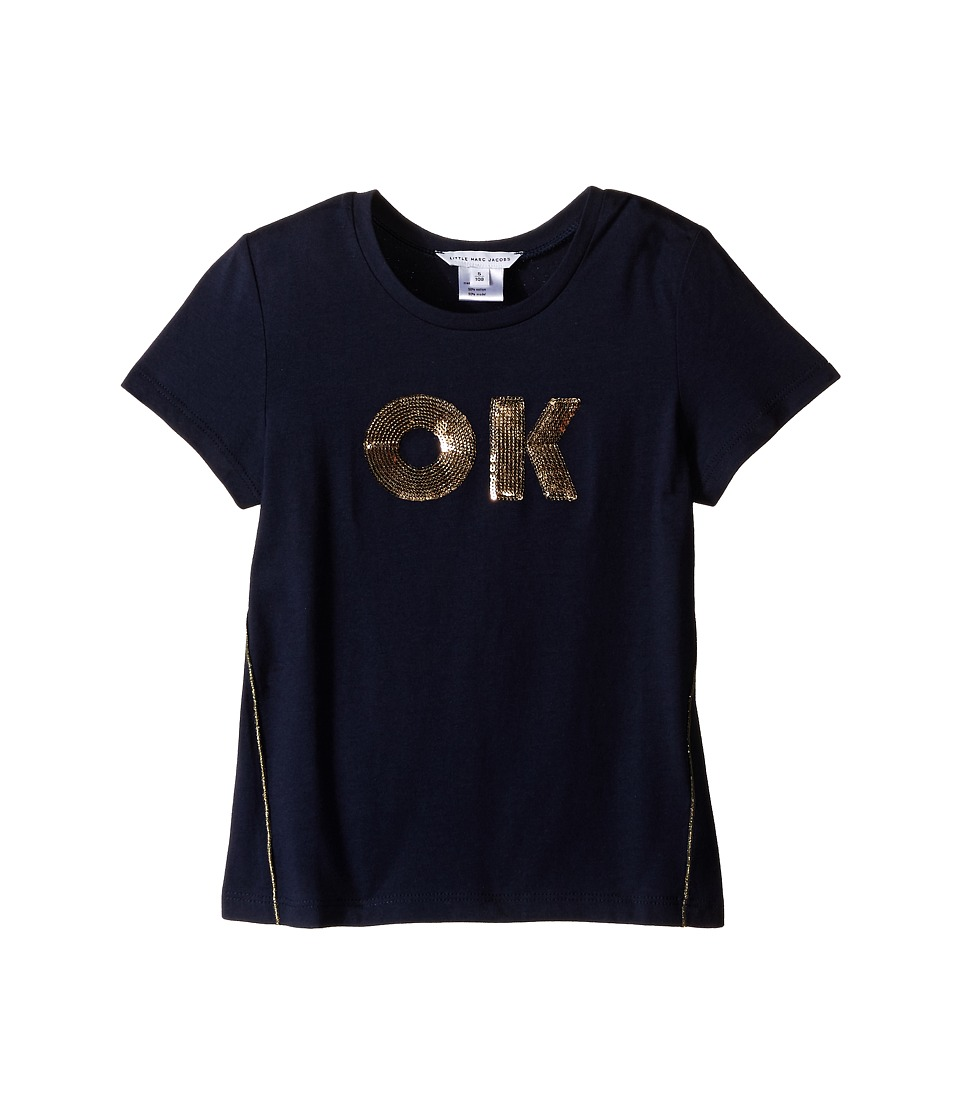 Little Marc Jacobs - OK Tee Shirt (Toddler/Little Kids) (Dark Blue) Girl's Short Sleeve Pullover