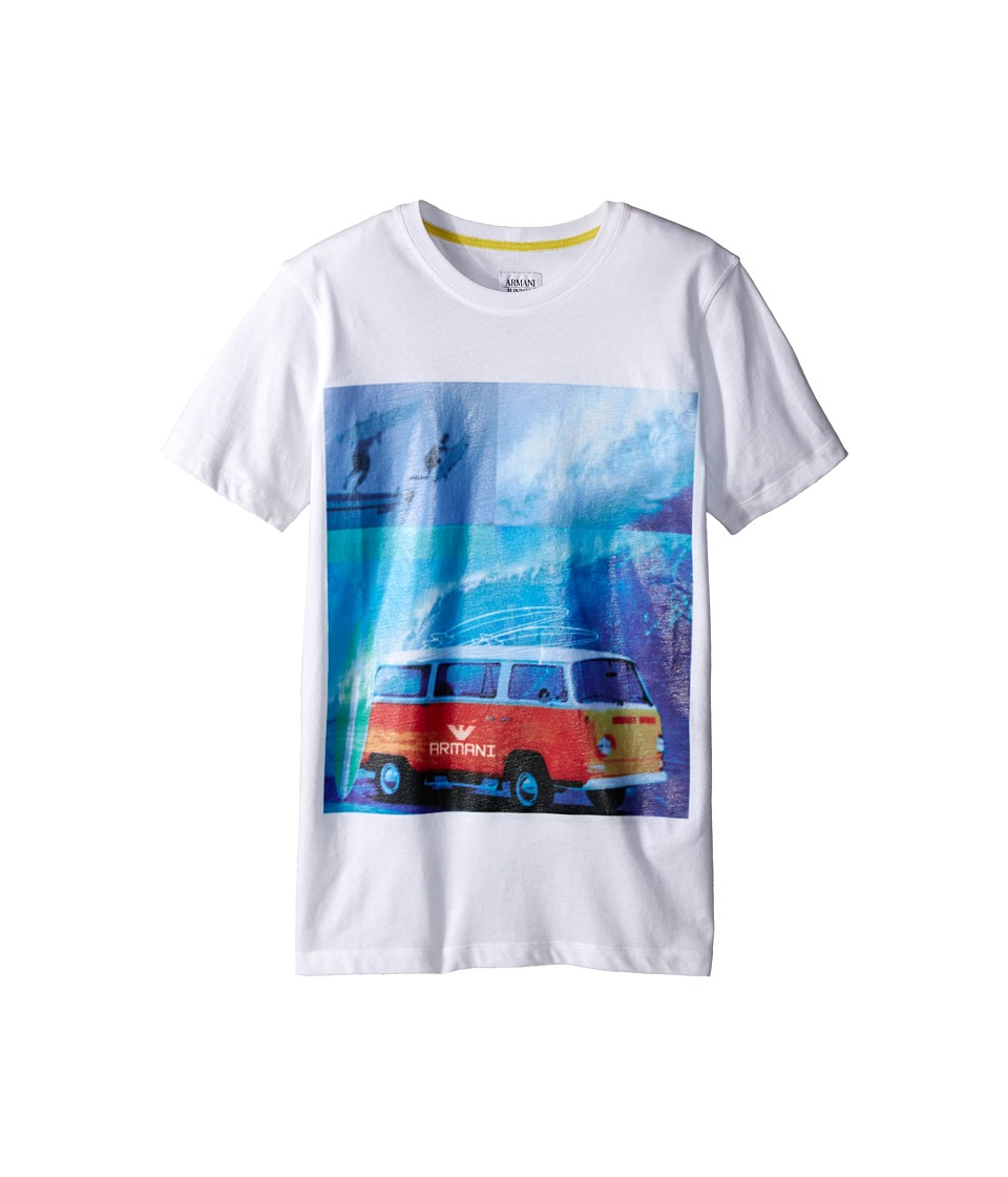 Armani Junior - Graphic T-Shirt with Surf Van (Big Kids) (White Wash) Boy's T Shirt