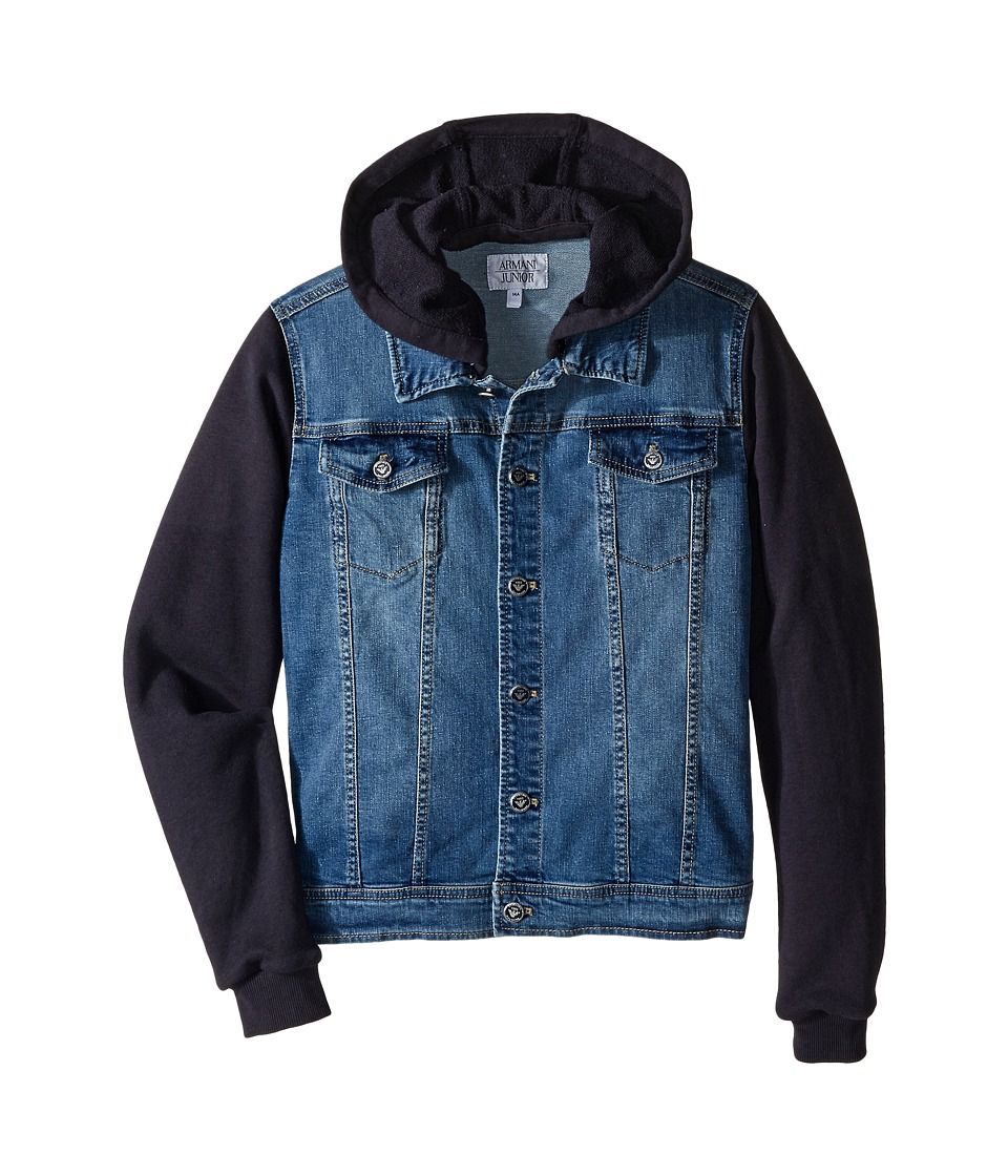 Armani Junior - Jacket with Navy Sweat Hood and Sleeves (Big Kids) (Denim) Boy's Coat