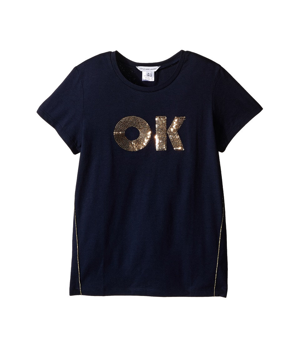 Little Marc Jacobs - OK Tee Shirt (Little Kids/Big Kids) (Dark Blue) Girl's Short Sleeve Pullover