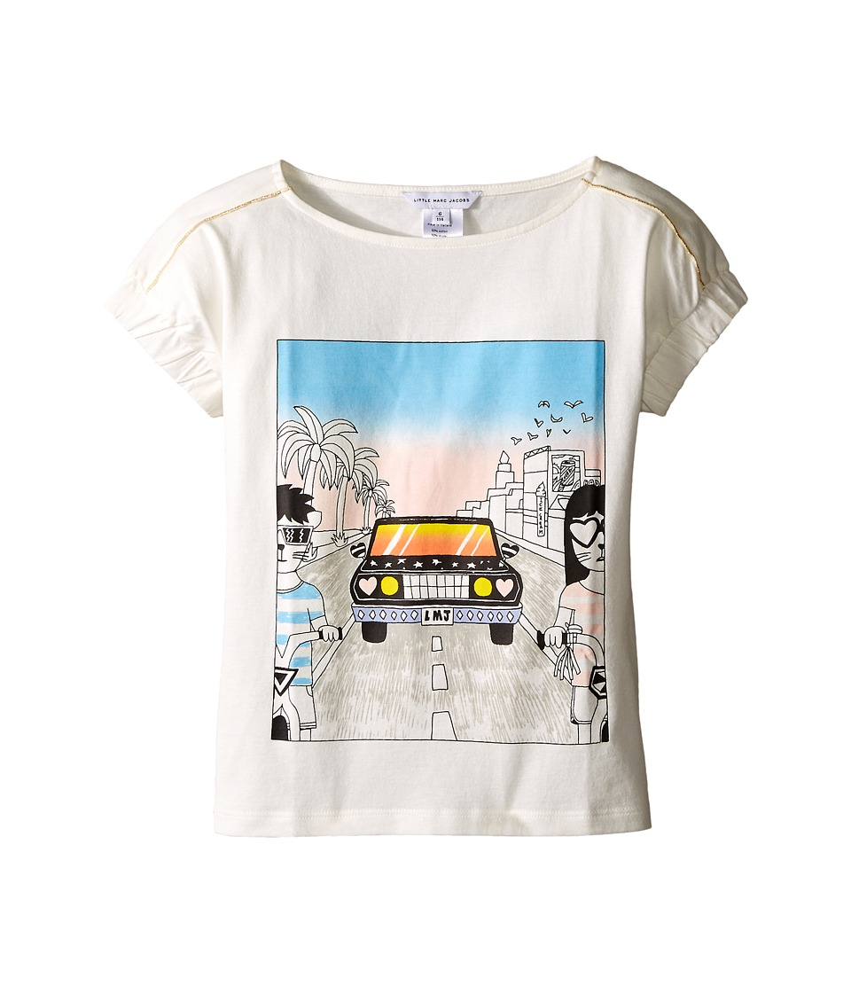 Little Marc Jacobs - Cotton Jersey Tee Shirt Car Or Hello Sunshine Print (Little Kids/Big Kids) (Off-White) Girl's T Shirt