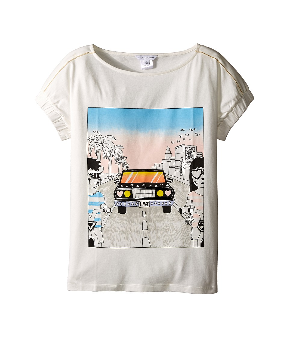 Little Marc Jacobs - Cotton Jersey Tee Shirt Car Or Hello Sunshine Print (Big Kids) (Off-White) Girl's T Shirt
