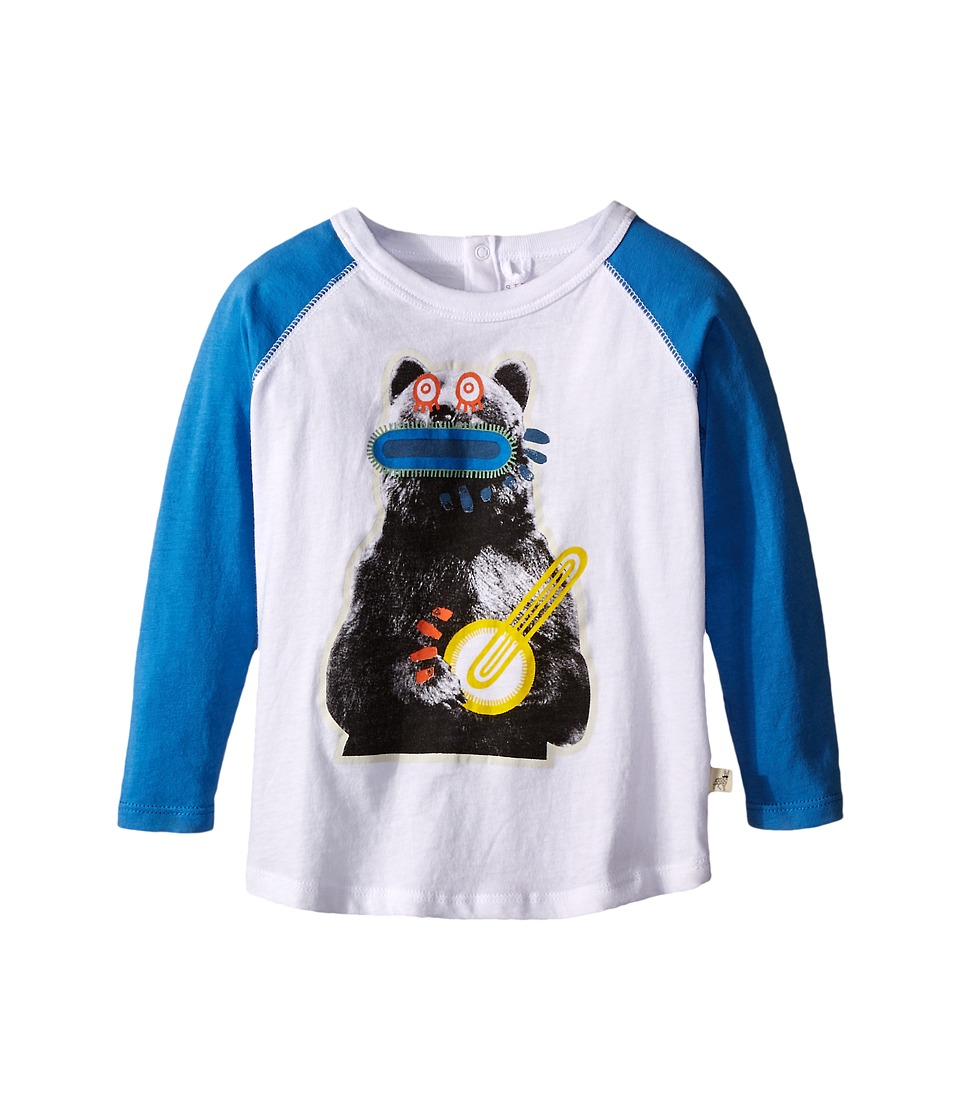 Stella McCartney Kids - Max Bear w/ Banjo Raglan Tee (Infant) (White/Blue) Boy's T Shirt