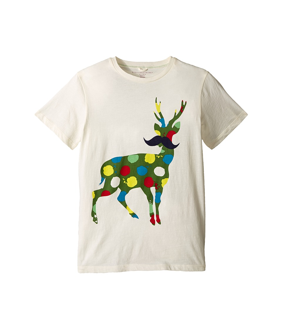 Stella McCartney Kids - Arlo Paint Splatter Deer Logo Tee (Toddler/Little Kids/Big Kids) (Cream) Boy's T Shirt