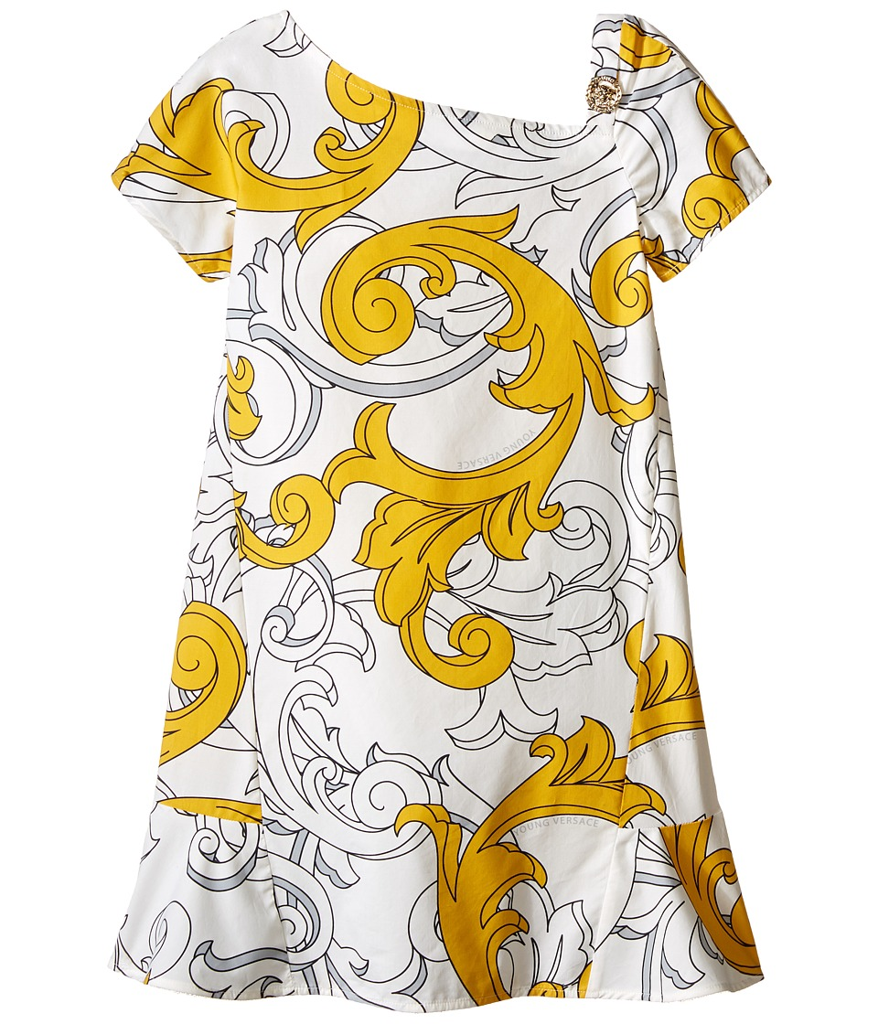 Versace Kids - Macrobarocco Print Short Sleeve Dress (Big Kids) (White/Gold) Girl's Dress