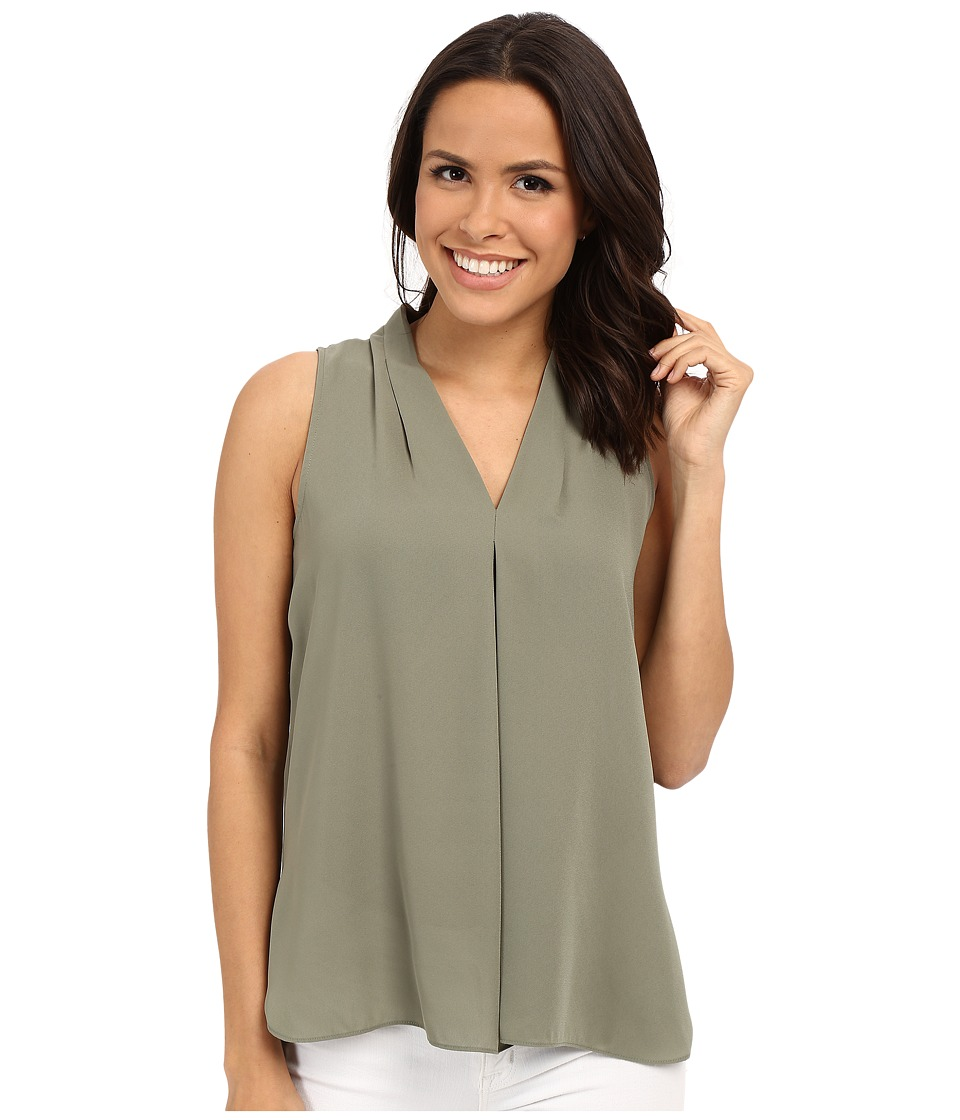 Vince Camuto - Sleeveless V Blouse w/ Inverted Front Pleat (Sage) Women's Blouse