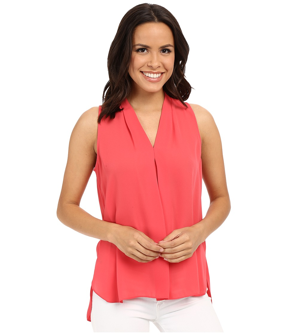Vince Camuto - Sleeveless V Blouse w/ Inverted Front Pleat (Guava Fruit) Women's Blouse