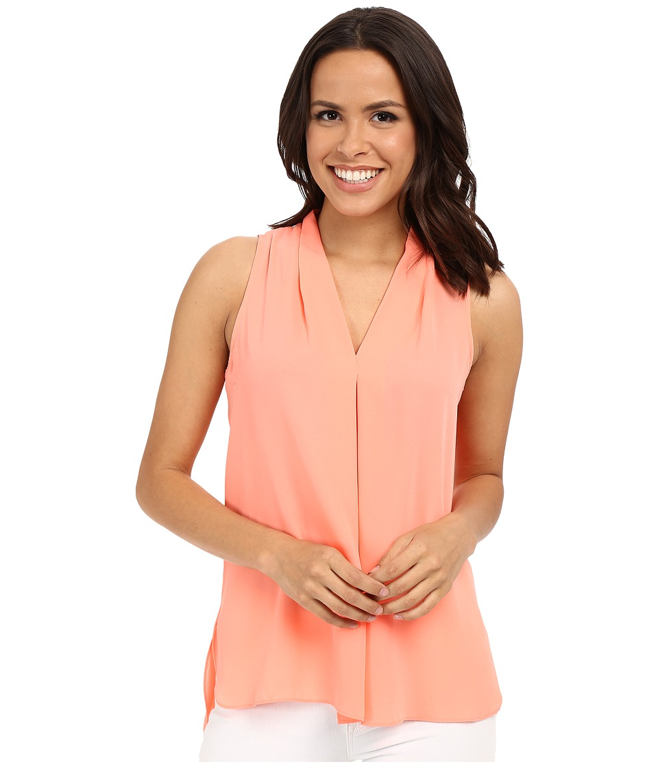 Vince Camuto - Sleeveless V Blouse w/ Inverted Front Pleat (Coral Shock) Women's Blouse