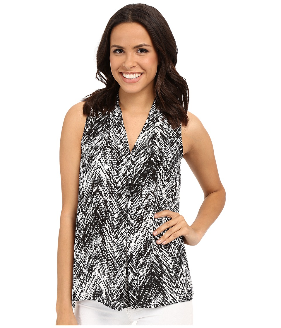 Vince Camuto - Sleeveless Textured Vibe V Blouse w/ Front Pleat (Rich Black) Women's Blouse
