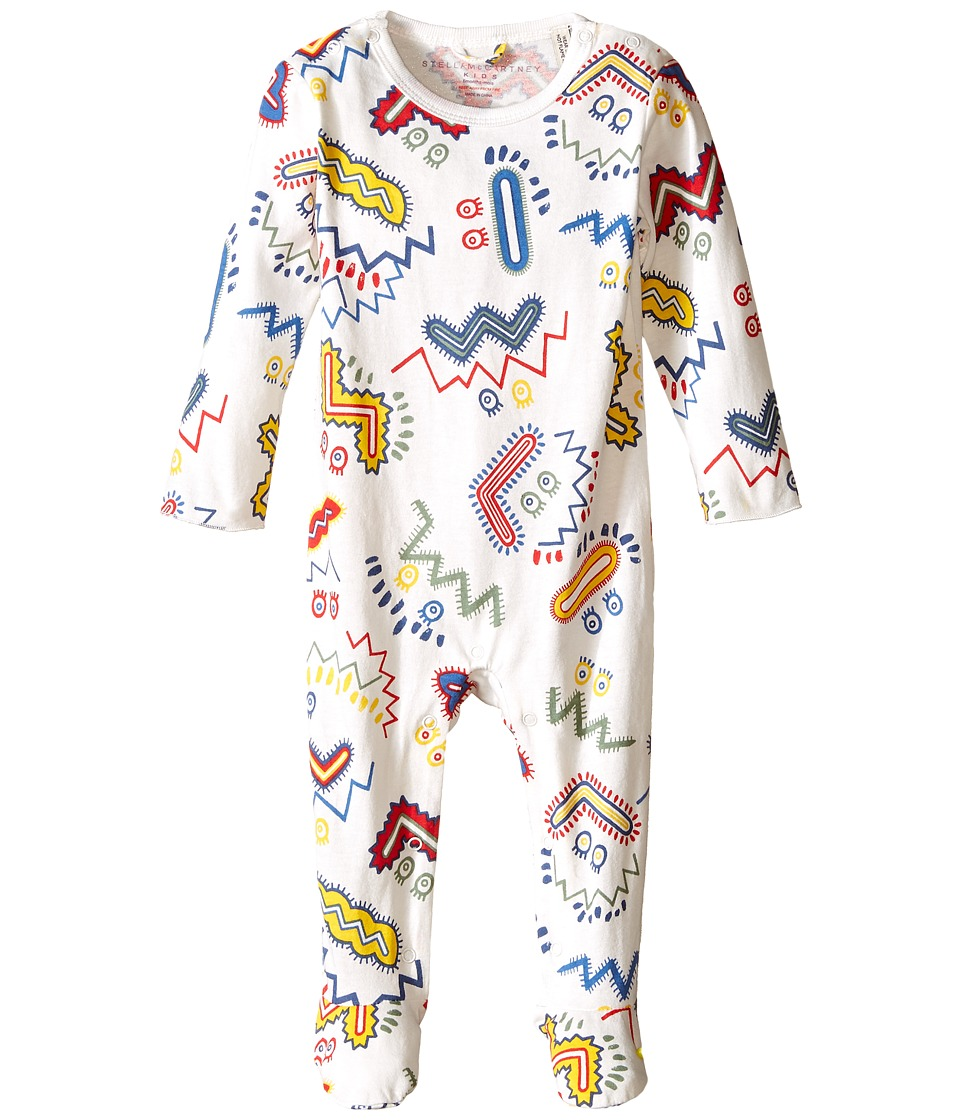 Stella McCartney Kids - Twiddle Zigzag Print Footie (Infant) (White) Boy's Jumpsuit & Rompers One Piece