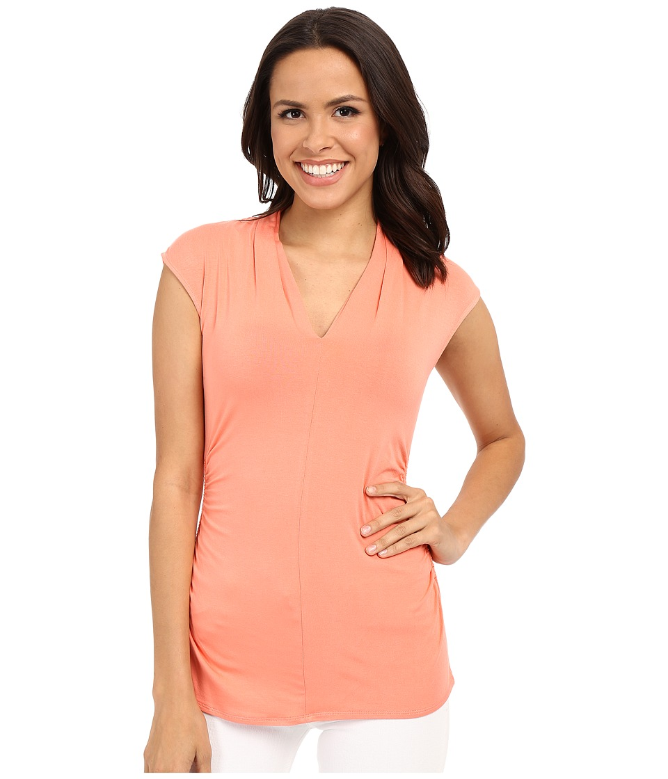 Vince Camuto - S/L Pleat V-Neck Top (Coral Shock) Women's Short Sleeve Pullover