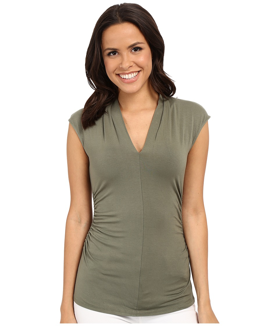 Vince Camuto - S/L Pleat V-Neck Top (Sage) Women's Short Sleeve Pullover