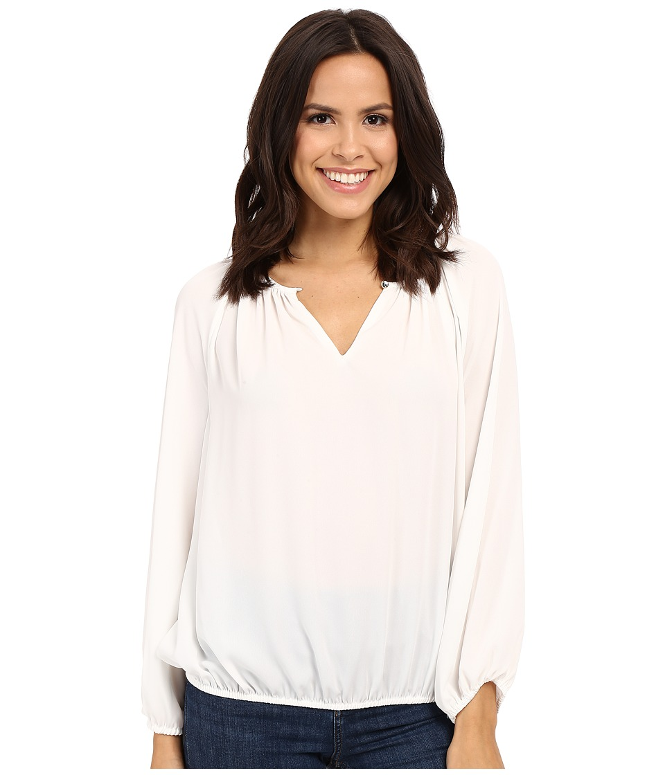 Vince Camuto - Long Sleeve Shirred Neck Peasant Blouse (New Ivory) Women's Blouse