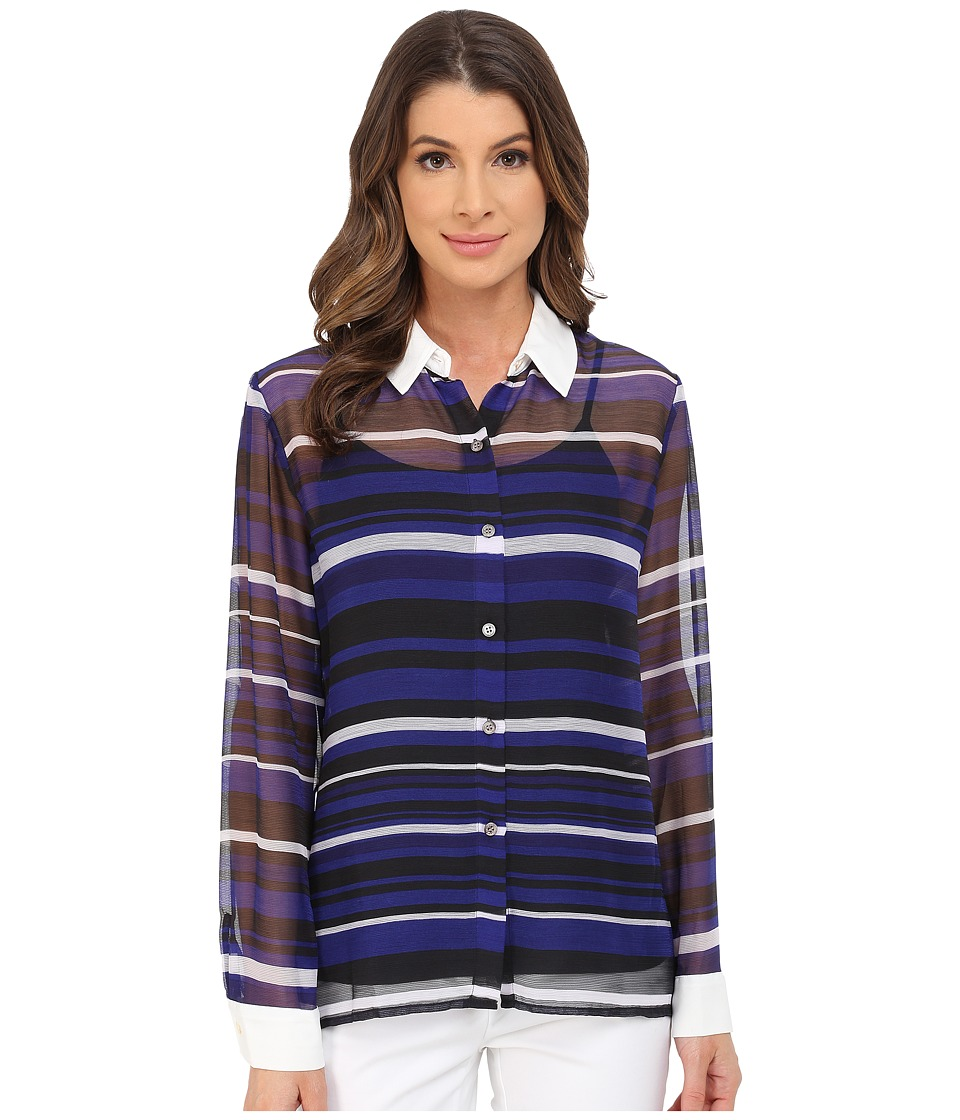 Vince Camuto - Long Sleeve Zen Multi Stripe Blouse (Vivid Indigo) Women's Blouse