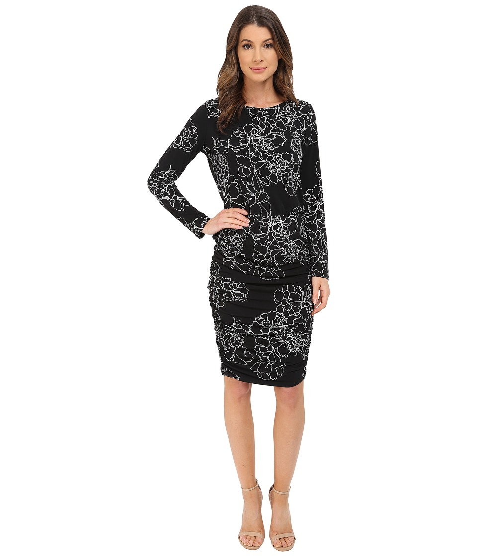 Vince Camuto - Long Sleeve Floral Contours Rouched Dress (Rich Black) Women's Dress