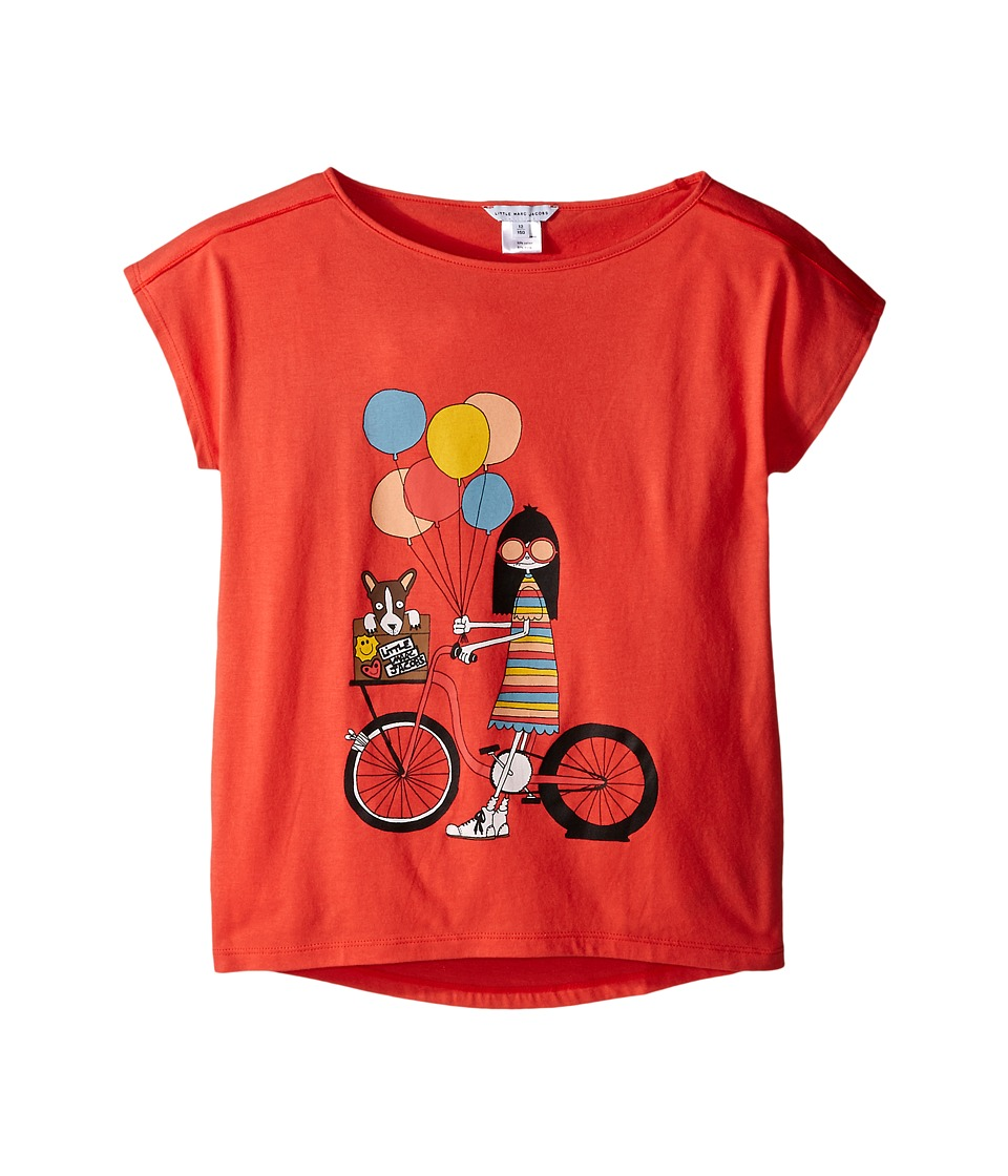Little Marc Jacobs - Ms Marc Graphic Tee (Big Kids) (Red Bike) Girl's T Shirt