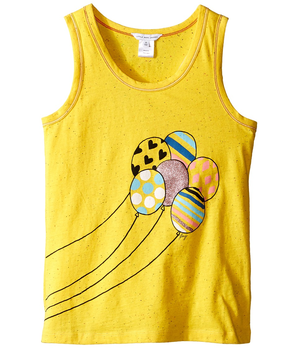 Little Marc Jacobs - Jersey Tank Top with Balloons Or Beach Supplies (Big Kids) (Yellow) Girl's Sleeveless