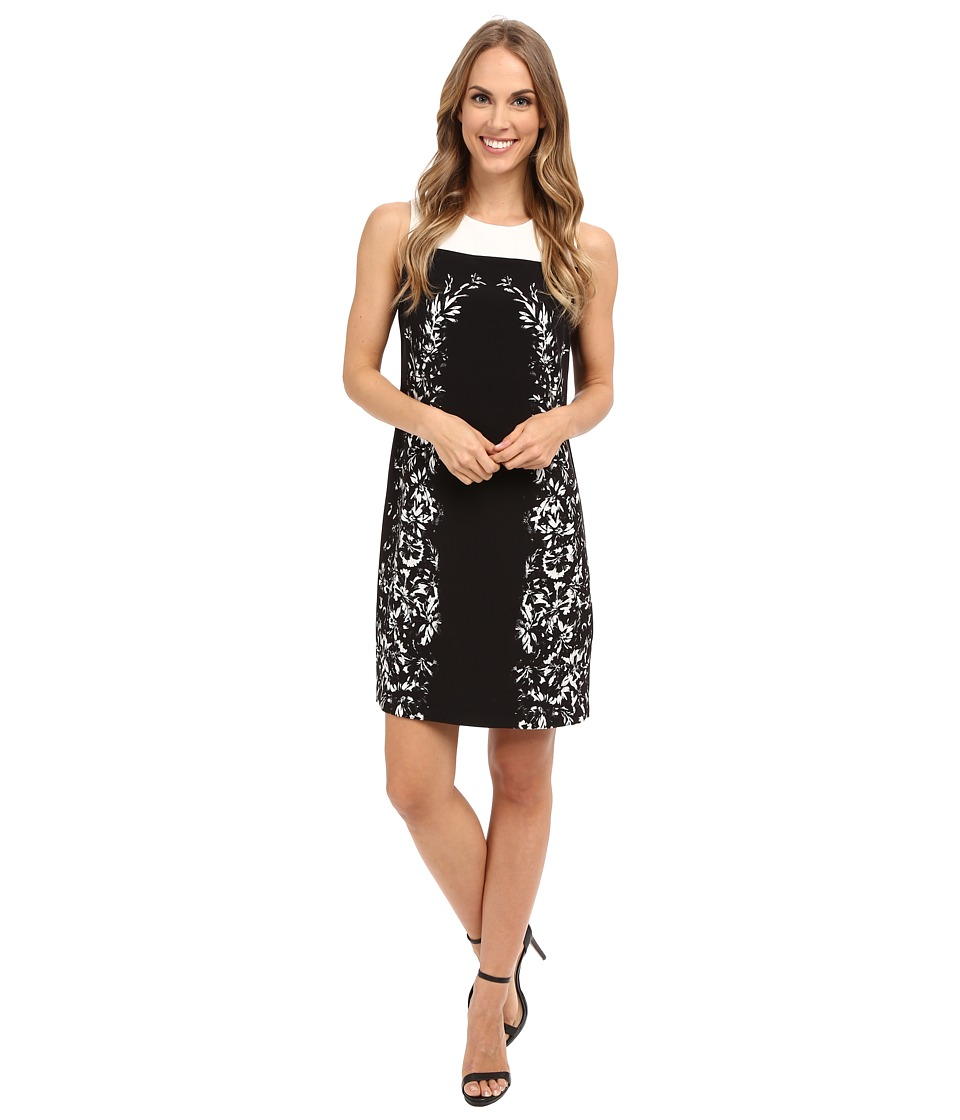 Vince Camuto - Sleeveless Delicate Trellis Panel Shift Dress (Rich Black) Women's Dress