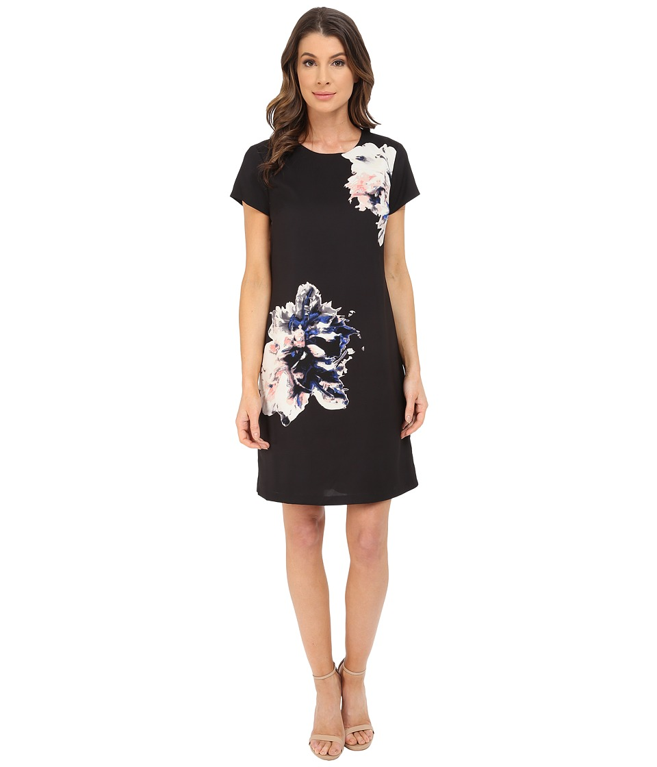 Vince Camuto - Cap Sleeve Duet Floral Panel Shift Dress (Rich Black) Women's Dress