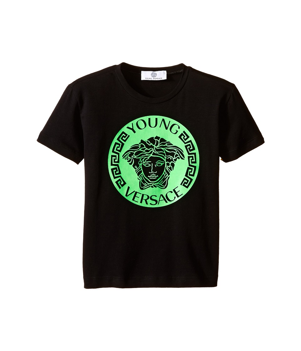 Versace Kids - T-Shirt with Medusa Logo on Front (Toddler/Little Kids) (Black/Green) Boy's Short Sleeve Pullover