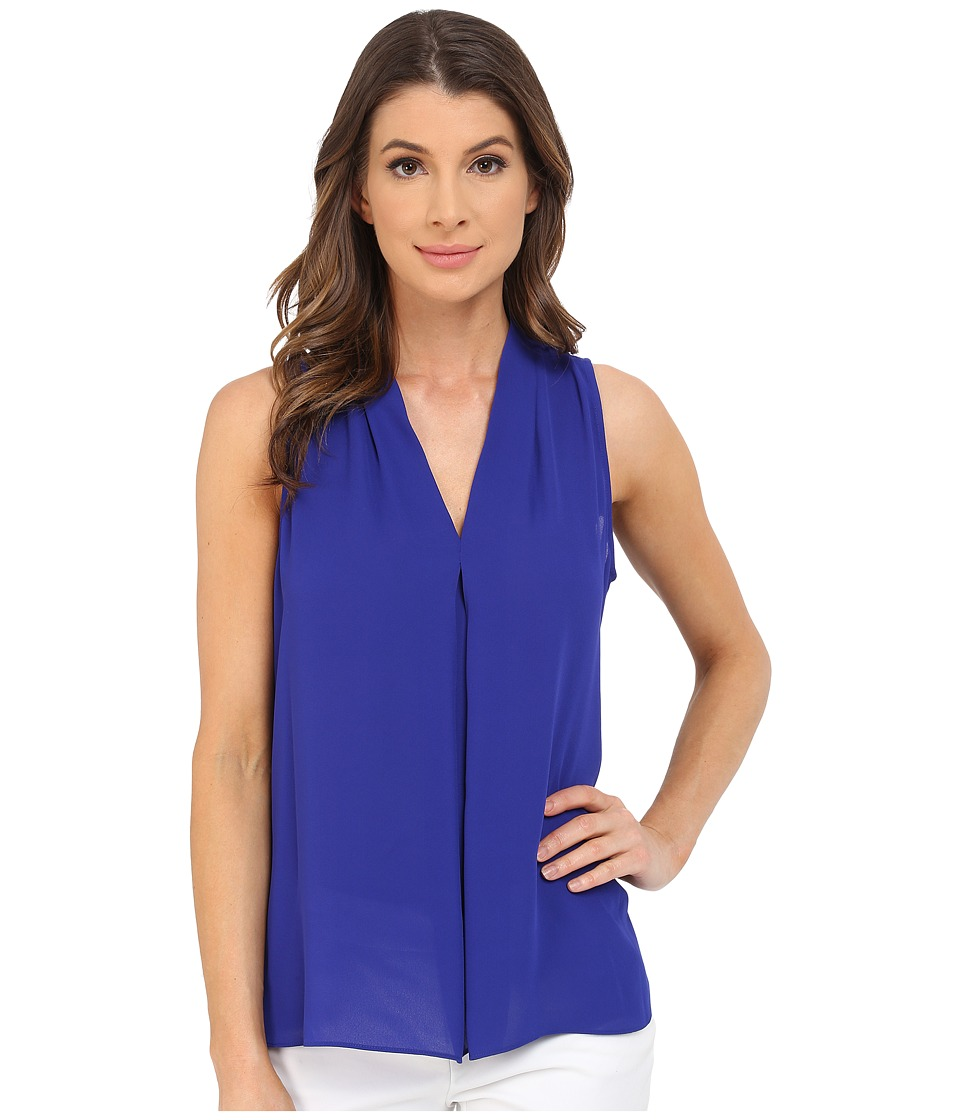 Vince Camuto - Sleeveless V Blouse w/ Inverted Front Pleat (Vivid Indigo) Women's Blouse