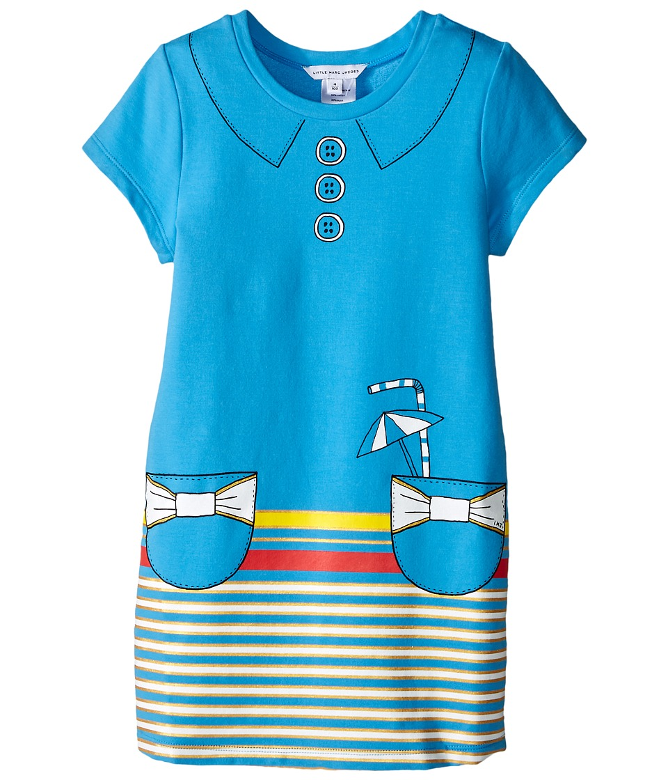 Little Marc Jacobs - Short Sleeve Dress with Fancy Illustration (Toddler/Little Kids) (Blue) Girl's Dress
