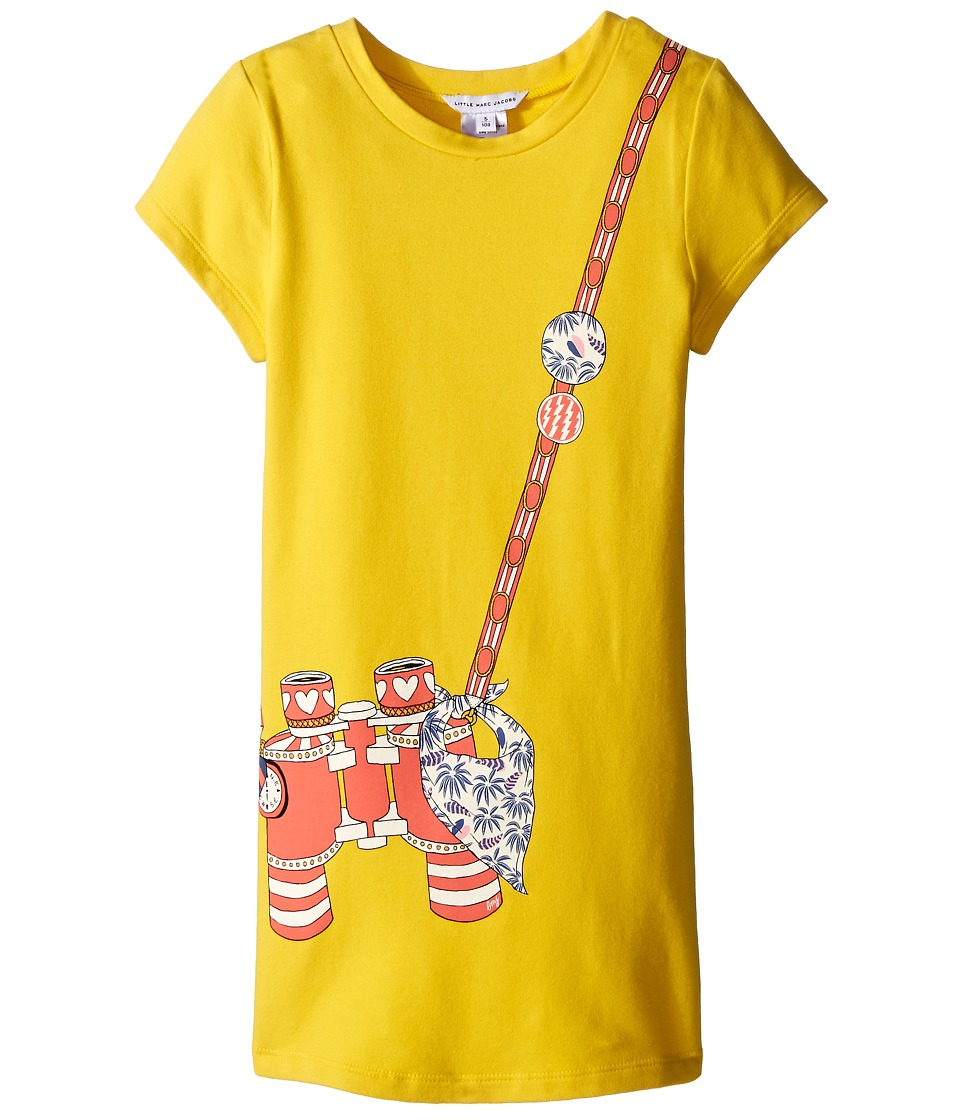 Little Marc Jacobs - Short Sleeve Dress with Fancy Illustration (Toddler/Little Kids) (Yellow) Girl's Dress