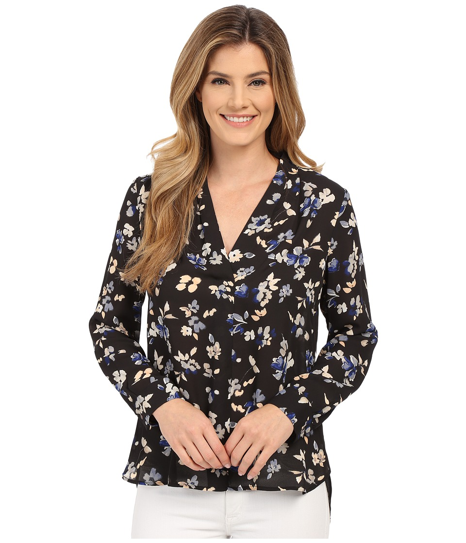Vince Camuto - Long Sleeve Wistful Petals V Shirttail Blouse (Rich Black) Women's Blouse