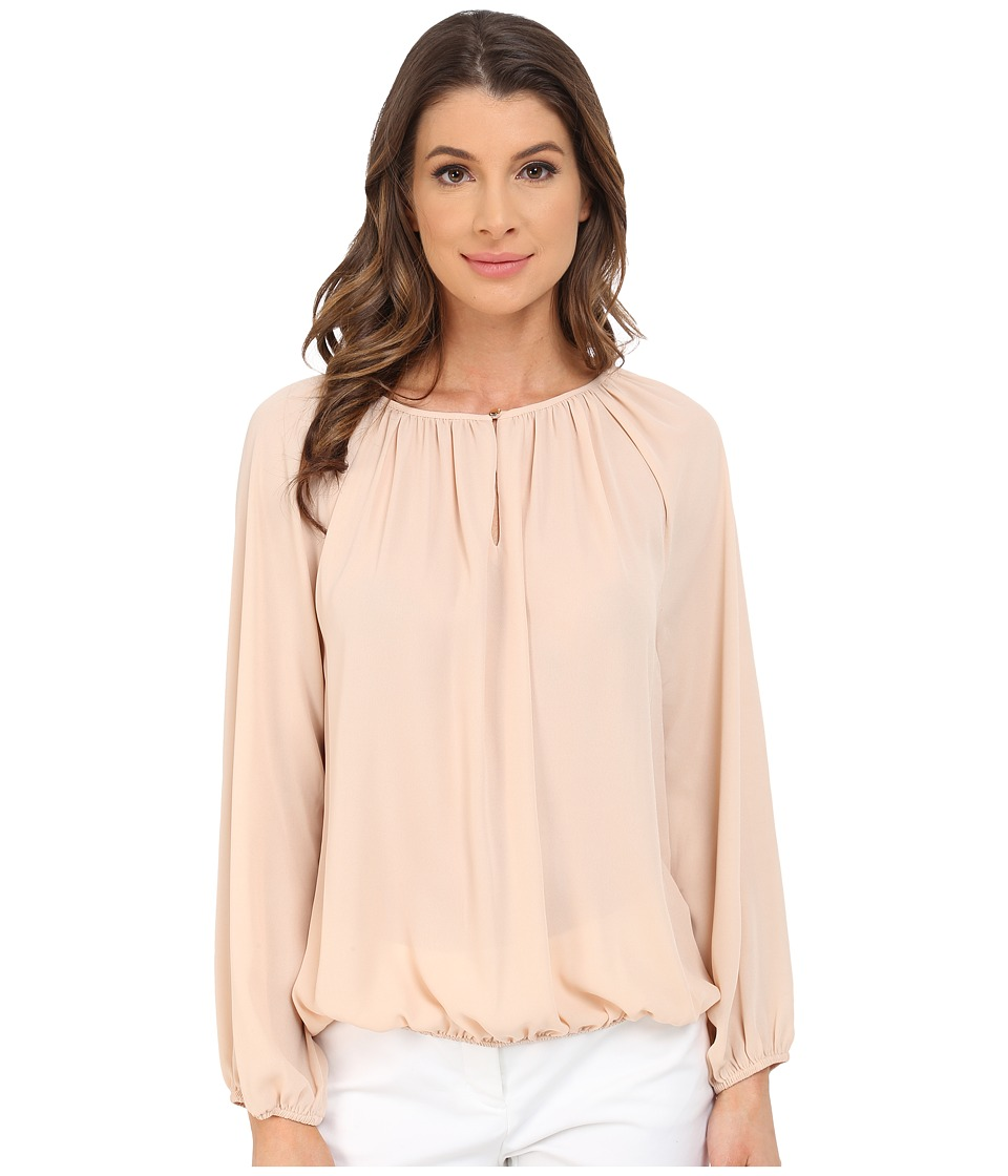 Vince Camuto - Long Sleeve Shirred Neck Peasant Blouse (Moonbeam) Women's Blouse