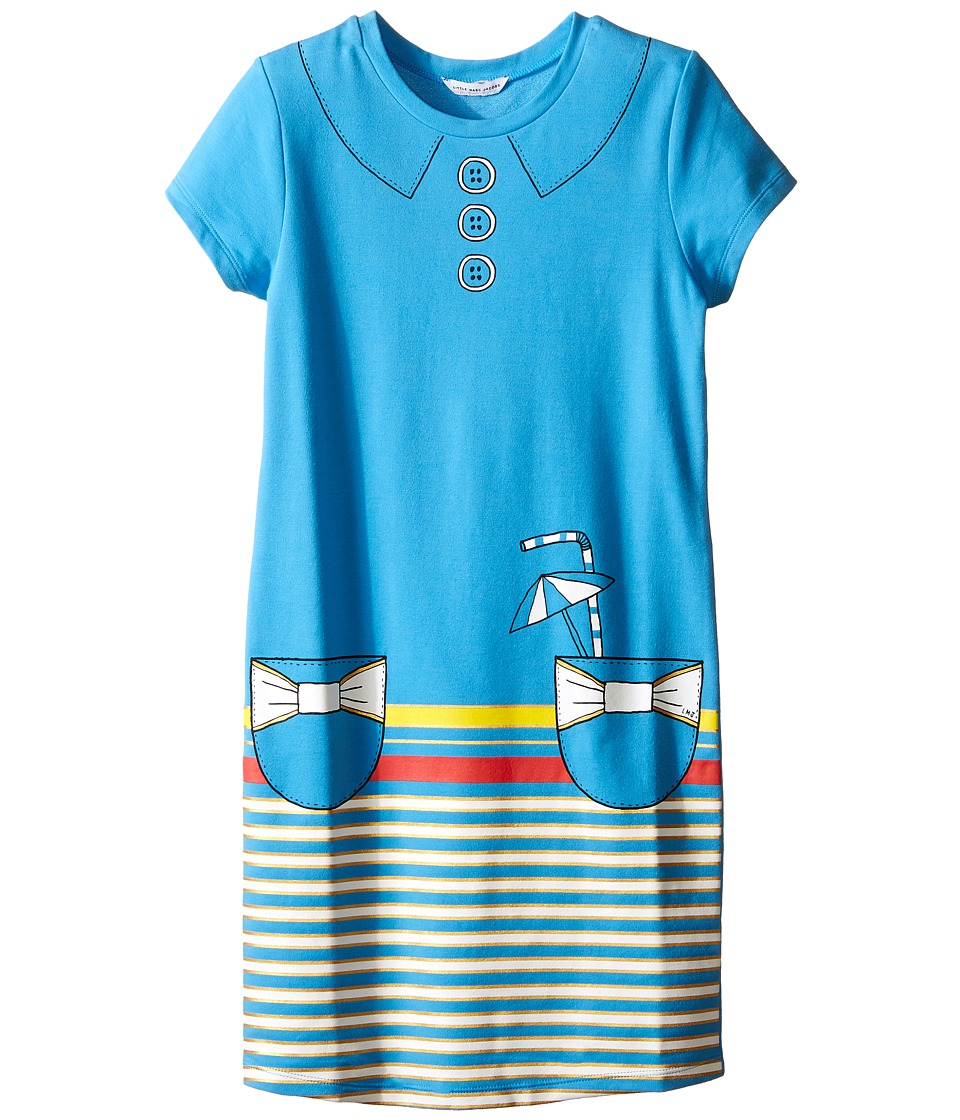 Little Marc Jacobs - Short Sleeve Dress with Fancy Illustration (Little Kids/Big Kids) (Blue) Girl's Dress