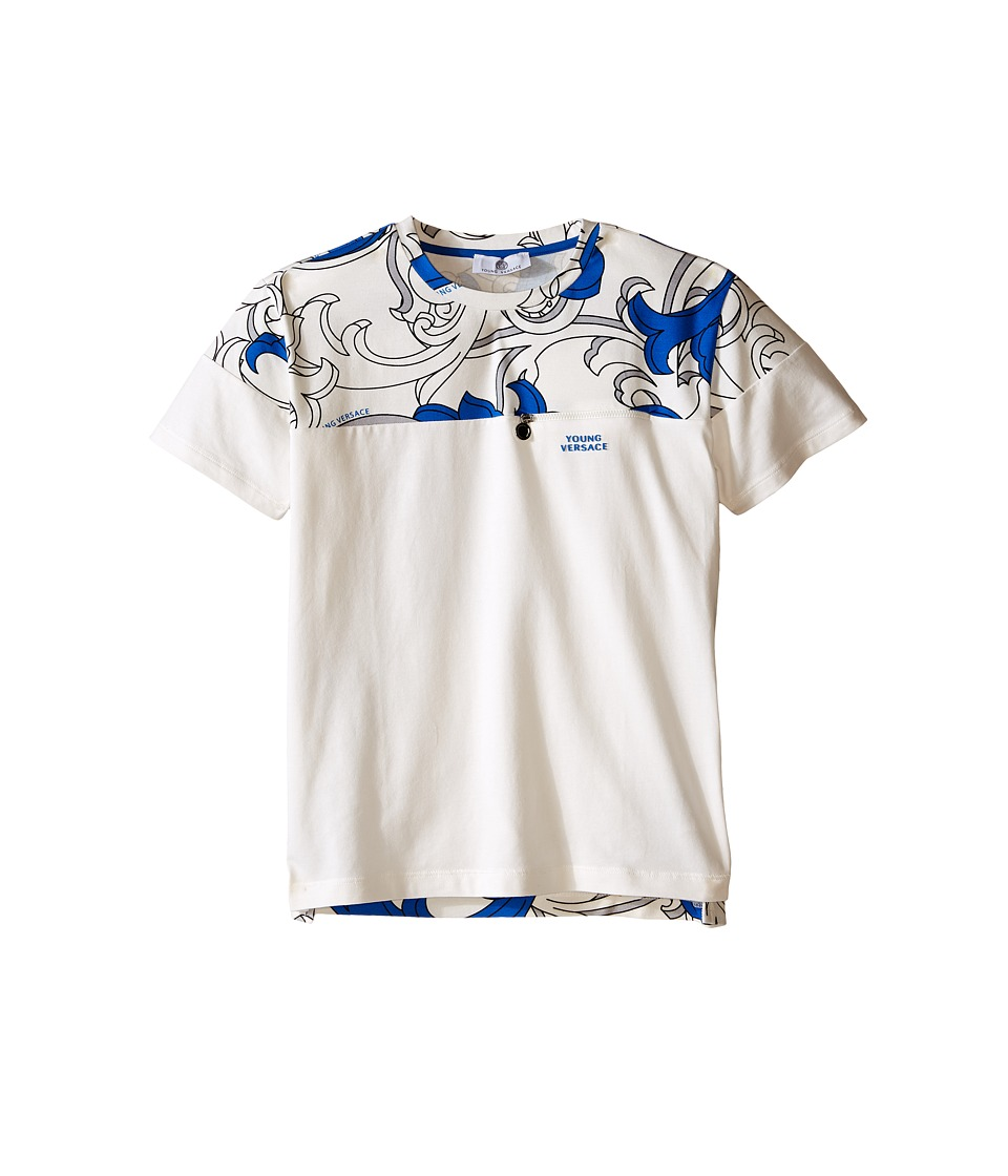 Versace Kids - Color Block T-Shirt with Macrobarocco Print (Big Kids) (White/Blue) Boy's Short Sleeve Pullover