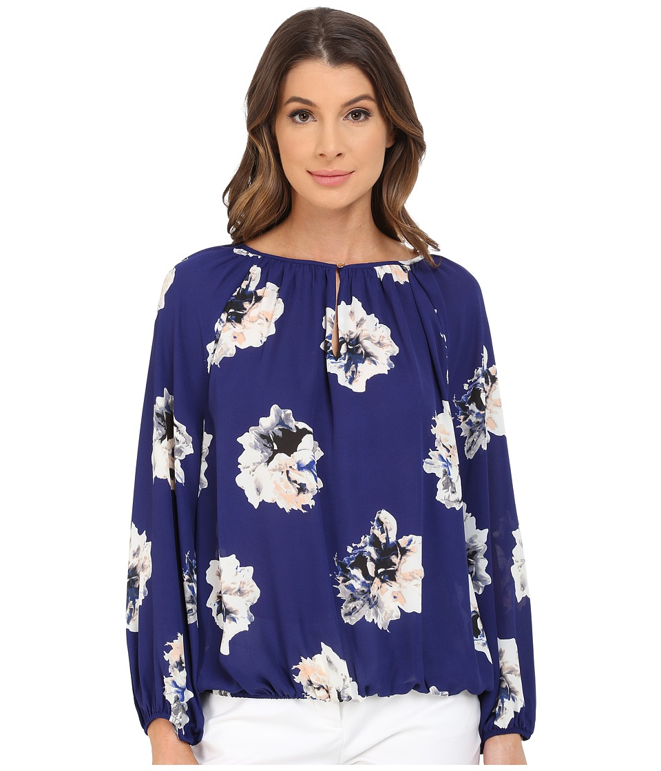 Vince Camuto - Long Sleeve Duel Floral Shirred Neck Peasant Blouse (Night Tide) Women's Blouse