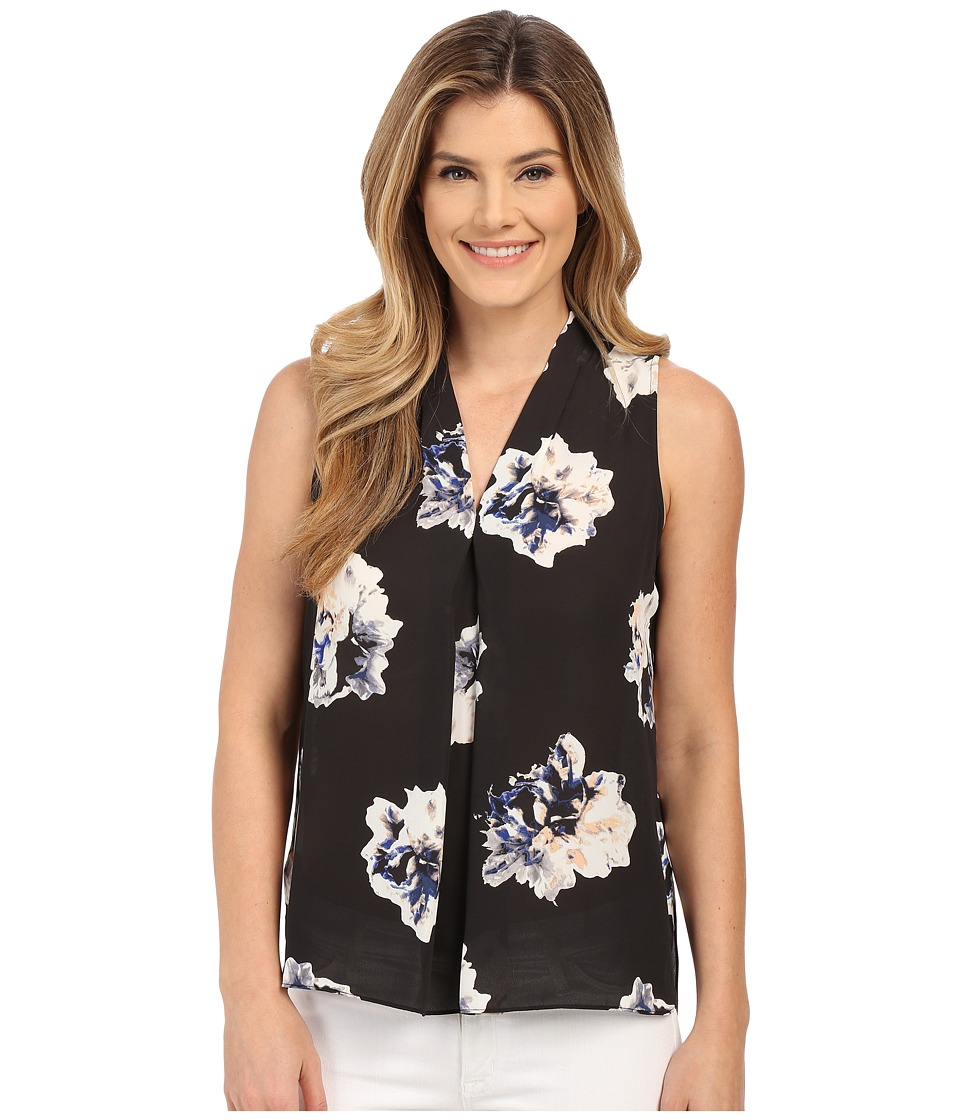 Vince Camuto - Sleeveless Duet Floral V Blouse w/ Front Pleat (Rich Black) Women's Blouse