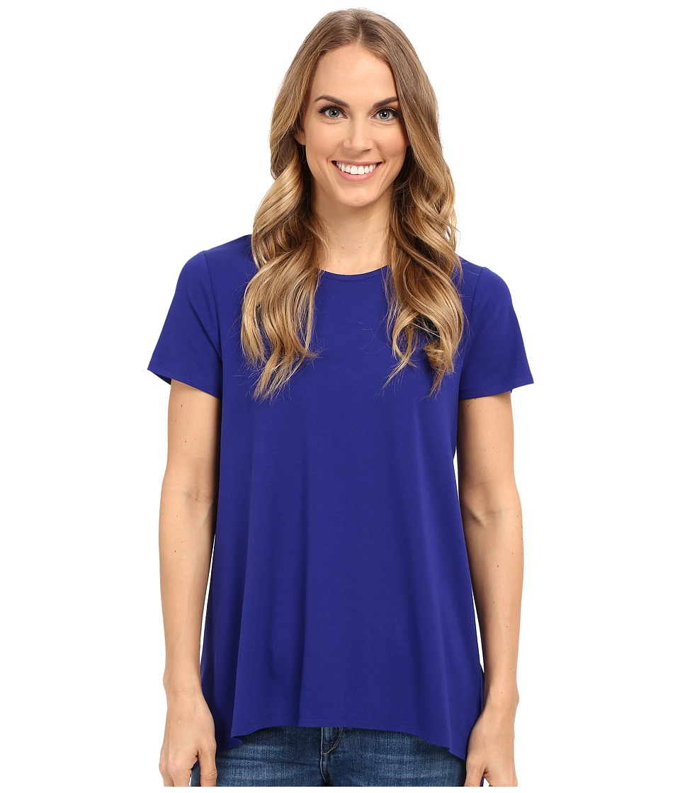 Vince Camuto - Short Sleeve High-Low Hem Top w/ Woven Back (Vivid Indigo) Women's T Shirt